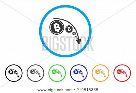 Bitcoin Reduce Trend rounded icon. Style is a flat grey symbol inside light blue circle with bonus color variants. Bitcoin Reduce Trend vector designed for web and software interfaces.