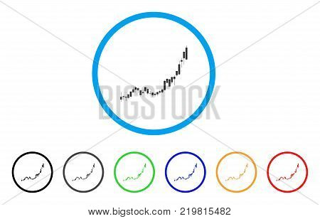 Candlestick Chart Growth Acceleration rounded icon. Style is a flat grey symbol inside light blue circle with bonus colored versions.