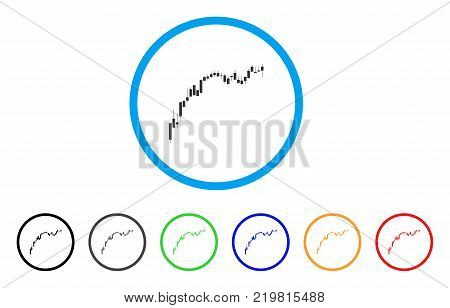 Candlestick Chart Growth Slowdown rounded icon. Style is a flat gray symbol inside light blue circle with additional color versions.