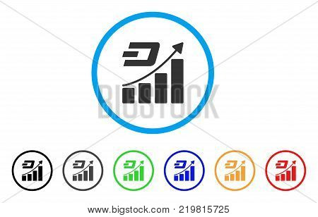 Dash Growth Trend rounded icon. Style is a flat gray symbol inside light blue circle with additional colored variants. Dash Growth Trend vector designed for web and software interfaces.
