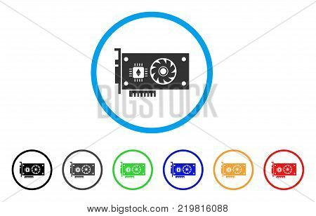 Ethereum Gpu Videocard rounded icon. Style is a flat gray symbol inside light blue circle with additional color versions. Ethereum Gpu Videocard vector designed for web and software interfaces.