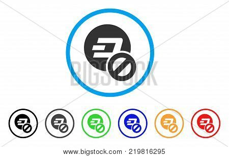 Forbidden Dashcoin rounded icon. Style is a flat gray symbol inside light blue circle with additional colored versions. Forbidden Dashcoin vector designed for web and software interfaces.