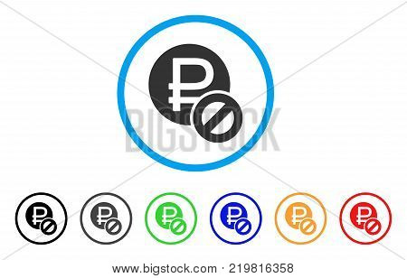 Forbidden Rouble rounded icon. Style is a flat grey symbol inside light blue circle with bonus colored versions. Forbidden Rouble vector designed for web and software interfaces.