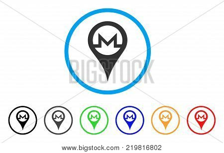 Monero Map Pointer rounded icon. Style is a flat grey symbol inside light blue circle with bonus color variants. Monero Map Pointer vector designed for web and software interfaces.