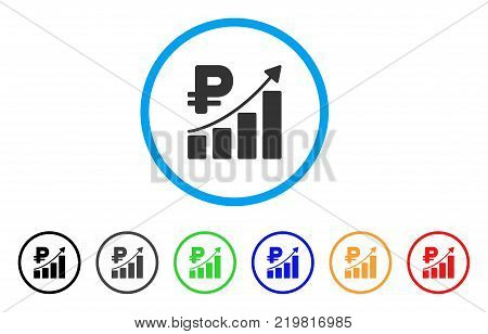 Rouble Growth Trend rounded icon. Style is a flat gray symbol inside light blue circle with bonus colored versions. Rouble Growth Trend vector designed for web and software interfaces.