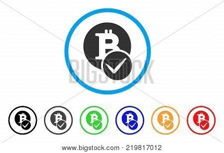 Valid Bitcoin rounded icon. Style is a flat gray symbol inside light blue circle with bonus colored variants. Valid Bitcoin vector designed for web and software interfaces. poster