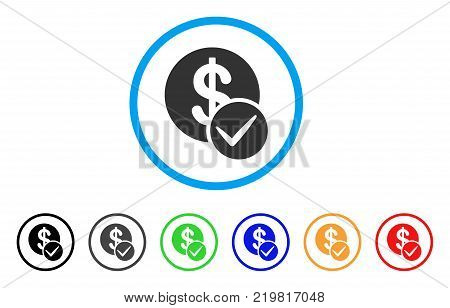 Valid Dollar Coin rounded icon. Style is a flat grey symbol inside light blue circle with bonus colored versions. Valid Dollar Coin vector designed for web and software interfaces.