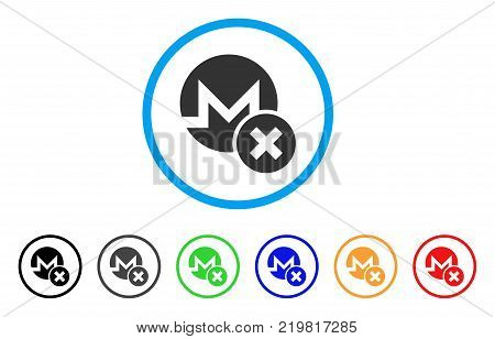 Wrong Monero rounded icon. Style is a flat gray symbol inside light blue circle with bonus color versions. Wrong Monero vector designed for web and software interfaces.