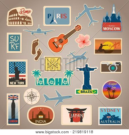 Vector travel sticker and label set with famous countries, cities, monuments, flags and symbols in retro or vintage style. Includes Italy, France, Russia, USA, Brazil, England, India, Japan, Australia and etc.