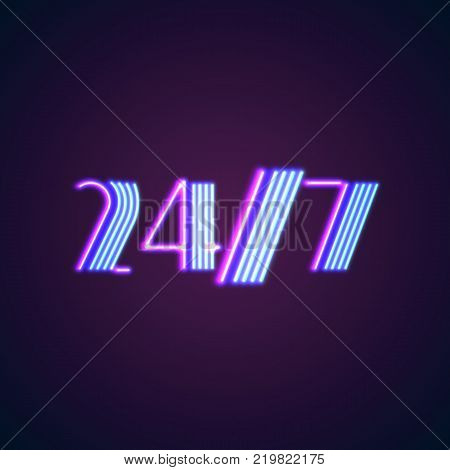 24 by 7 round hour open neon sign with glowing purple and blue lights