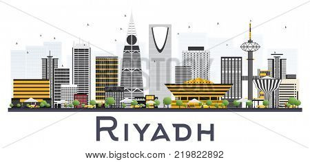 Riyadh Saudi Arabia City Skyline with Gray Buildings Isolated on White Background. Business Travel and Tourism Concept with Modern Architecture. Riyadh Cityscape with Landmarks.