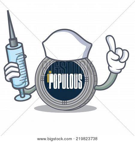 Nurse populous coin character cartoon vector illustration