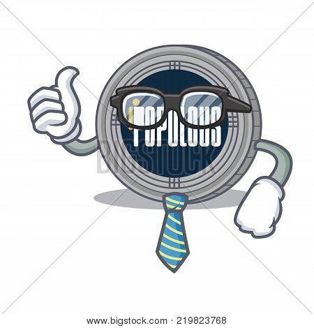 Businessman populous coin character cartoon vector illustration