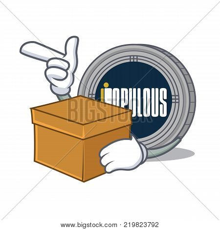 With box populous coin character cartoon vector illustration