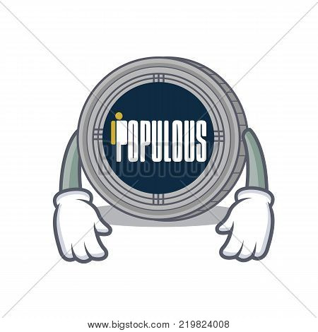 Tired populous coin character cartoon vector illustration