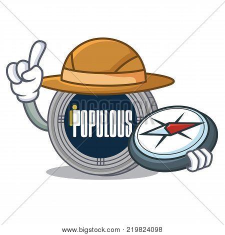 Explorer populous coin character cartoon vector illustration