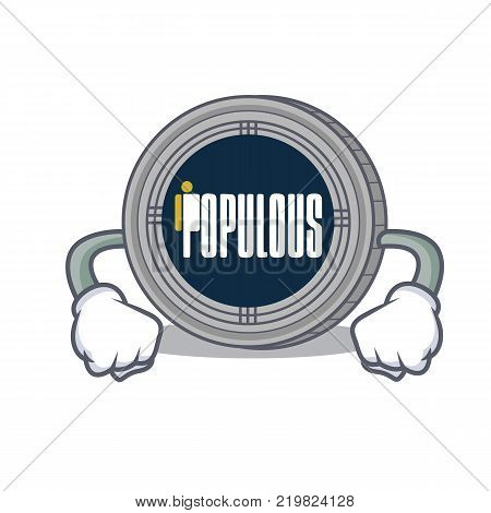 Angry populous coin character cartoon vector illustration