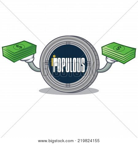 With money populous coin character cartoon vector illustration