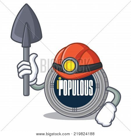 Miner populous coin character cartoon vector illustration