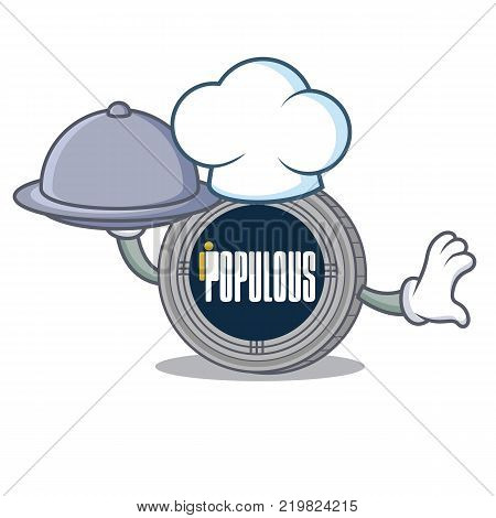 Chef with food populous coin character cartoon vector illustration
