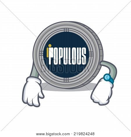 Waiting populous coin character cartoon vector illustration