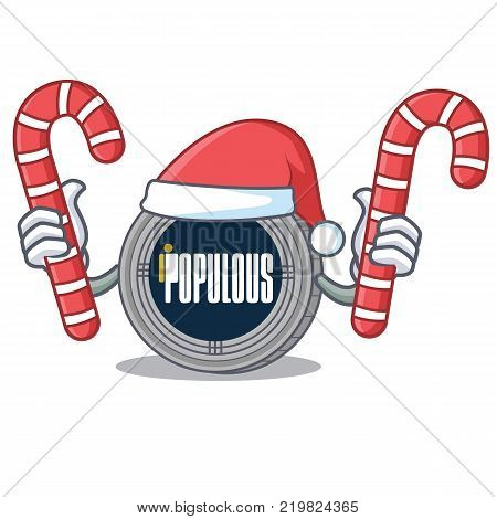 Santa with candy populous coin character cartoon vector illustration