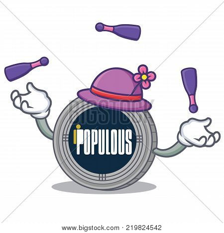 Juggling populous coin character cartoon vector illustration