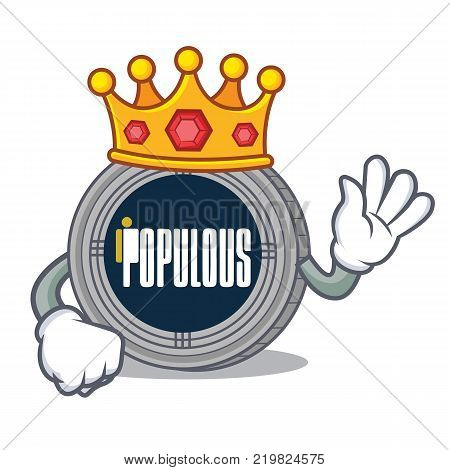 King populous coin character cartoon vector illustration