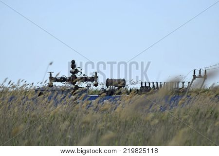 Oil well in the thickets of dry reeds. Oil well equipment.