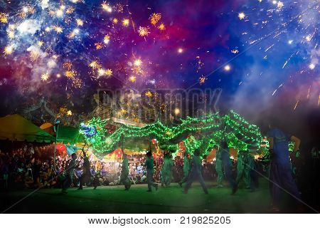 Bangkok, Thailand - January 17 2016: Lion Dance  Performed For A Lunar New Year Celebration At A Chi