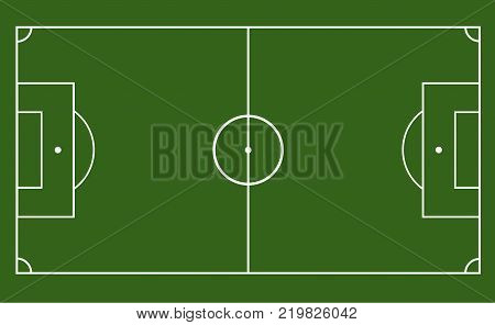 green field with soccer games strategy. football field or soccer field template.