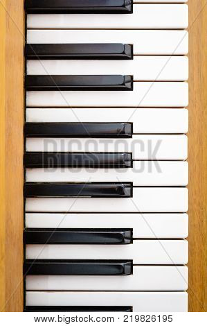 Top View on Piano Keys Full Octave Keys