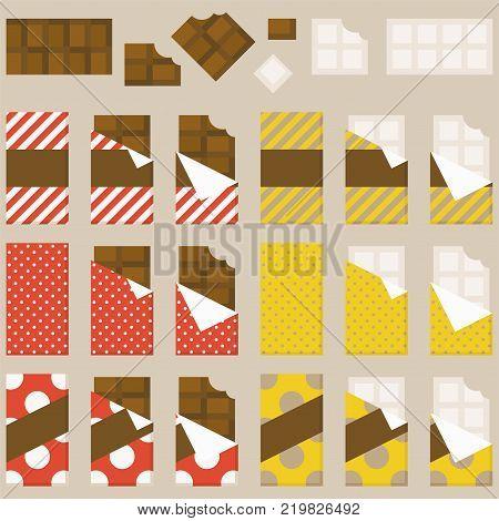 Chocolate bar and chocolate bitten vector set