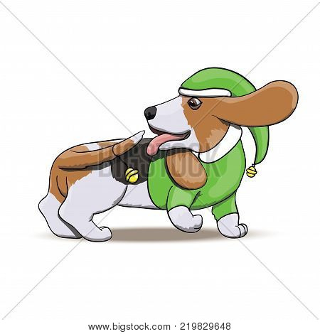 Basset Hound Santa's Elf Chasing His Tail With New Year Bell. Cartoon Dog Vector Character Illustration