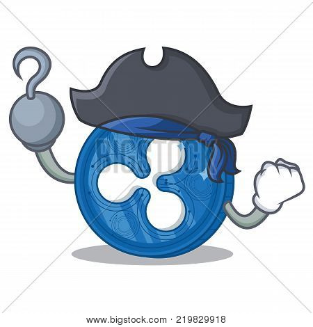 Pirate Ripple coin character cartoon vector illustration