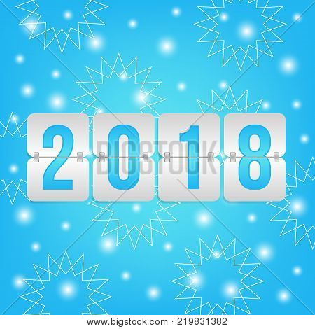 2018 Happy New Year scoreboard vector illustration. Winter holiday snow pattern for celebration. Blue and white decorative Christmas background with snowflakes lights and flip symbol