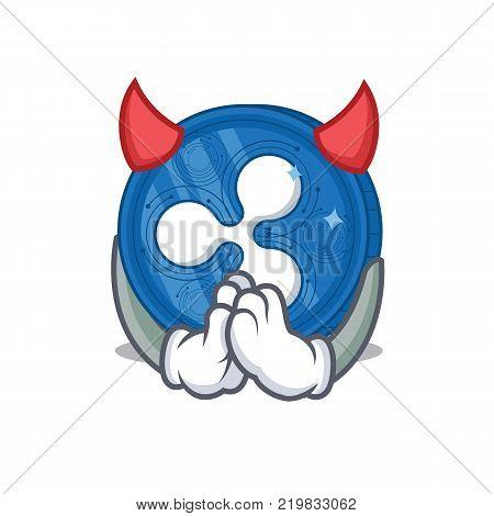 Devil Ripple coin character cartoon vector illustration