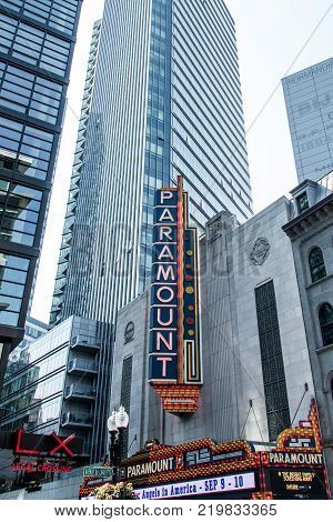 Boston, MA USA 06.09.2017 - Paramount Theater iconic neon sign dominates Washington Street Theater District