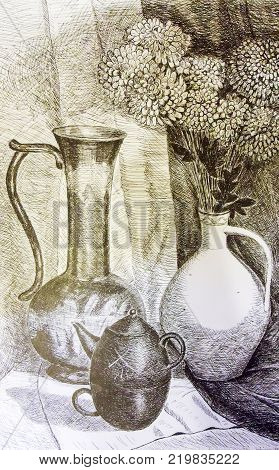 Still life. A painting depicting a still life, a vase with flowers