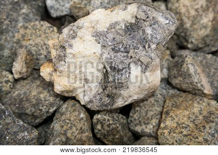 Stone texture Crushed stone ballast grey rocky slopes