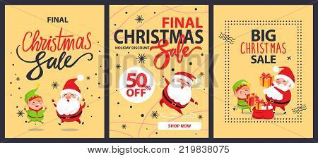 Collection of christmas final sale holiday discount posters with Santa Claus and elf cartoon characters vector banner on snowflakes, adverts set