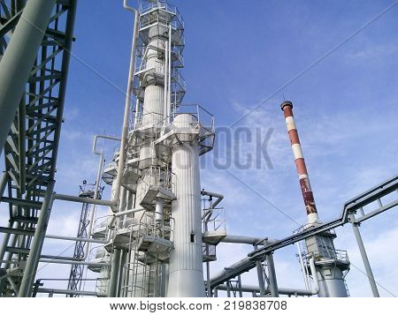 Distillation columns and heating furnace. The equipment for oil refinery.
