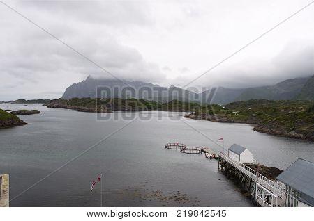 Kabelv g museum in Norway, Lofoten in morning