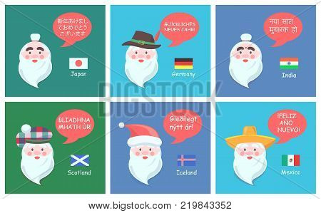 International congratulations with New Year from authentic Santa Clauses in foreign languages festive posters cartoon vector illustrations set.