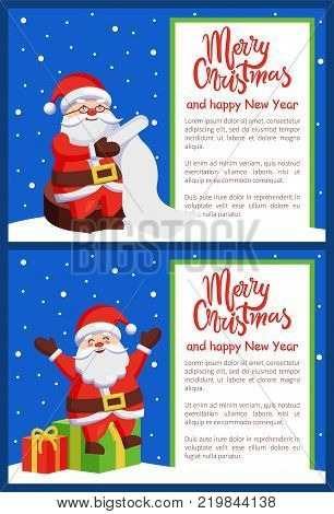 Merry Xmas and Happy New Year postcard Santa Claus reading wishlist sitting on wooden stump, Father Christmas with gift boxes vector poster on snow