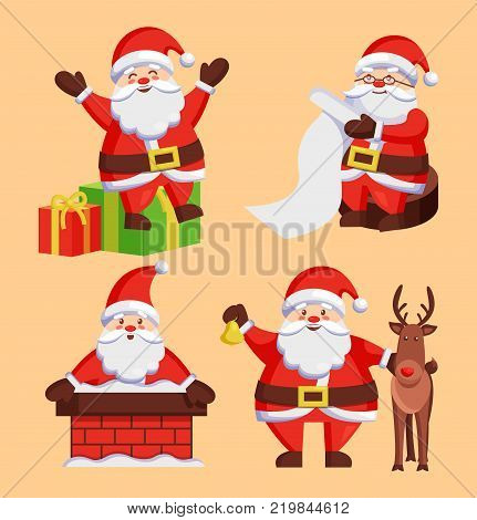 Santa Clauses set of icons. Saint Nicholas with wish list sitting on gift boxes, Father Christmas in chimney made of bricks, playing with deer vector