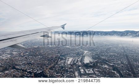 Turin Aerial View. Torino Cityscape From Above, Italy. Winter, Fog And Clouds On The Skylline. Smog