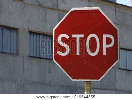 Stop road sign attention the object is to stop