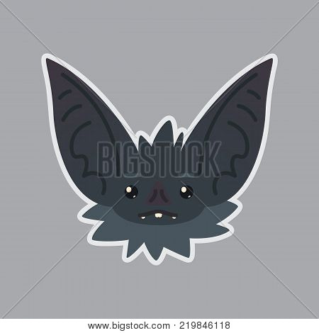 Bat sticker. Emoji. Vector illustration of cute Halloween bat vampire shows neutral emotion. Poker face. Isolated emoticon icon with sublayer. Bat-eared grey creature snout. Print design. Badge. Apathetic