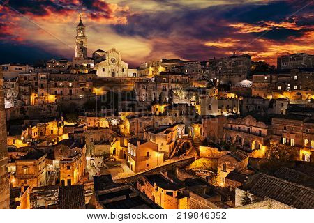 Matera, Basilicata, Italy: landscape of the old town at dusk of the city European Capital of Culture 2019